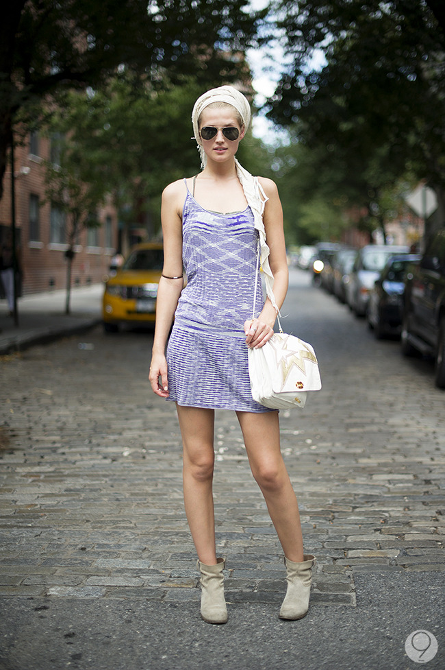 Street Style: Toni Garrn makes the most of the last days of summer in a textured Missoni dress. Via I'm Koo.