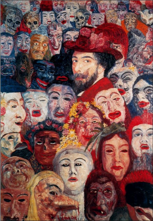 Self-Portrait with Masks byJames Ensor Belgium, 1889  Painting, Oil on Canvas
