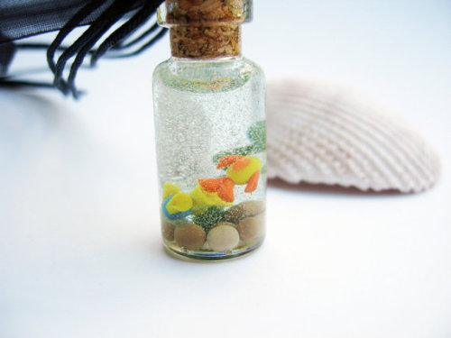echoesofnature:  Tiny Yellow Fish Aquarium in a Bottle Necklace by echoesofnature