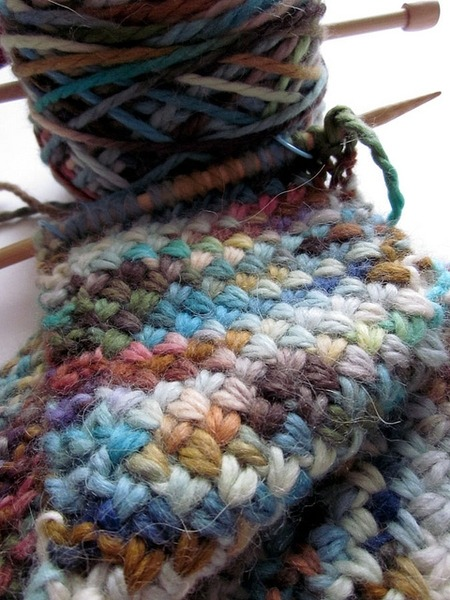 "Cross Stitch Neck Warmer  A thin, single skein alapaca scarflet. by Katilimade  The pattern is Cross-Stitch Scarf from the book ""101 Designer One-Skein Wonders"", and the yarn is Misti Alpaca Hand Paint Chunky in the colorway Havasu :)"