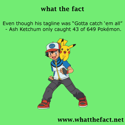 "what-the-fact:    Even though his tagline was ""Gotta catch 'em all"" - Ash Ketchum only caught 43 of 649 Pokémon.  source"