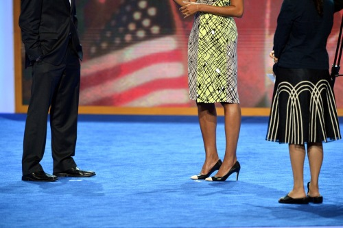 huffpoststyle:  Michelle Obama's cap-toe pumps from her speech run-through last night at the Democratic National Convention in Charlotte. (Her actual speech is tonight at 10:30!) (AFP photo)