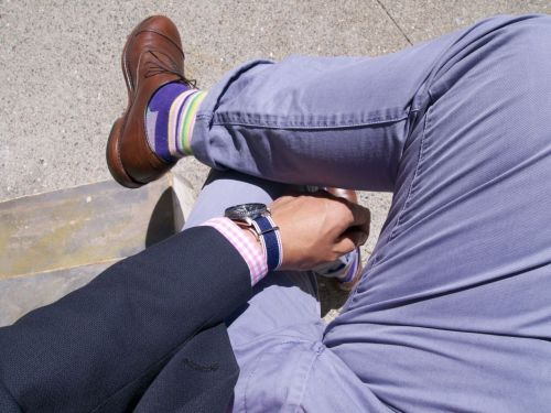 Shoes: Allen Edmonds Park Avenue, thrifted $4 Socks: Happy Socks, $5 Pants: Jeffrey Max @ Target, $28 Shirt: Lands' End Tailored Fit, clearance+addt'l sale $12 Jacket: Tommy Hilfiger, thrifted $10