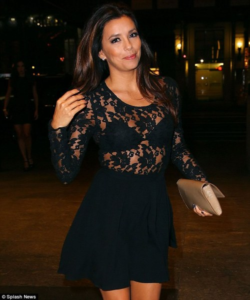 Eva Longoria wearing a seethrough black lace blouse I have seen Eva Longoria being a desperate housewife on television but she is rarely this naughty in public.  I guess she got the look right though, with just a small amount of tease factor.  If the brassiere had been in a different color the hotness factor would be much higher.