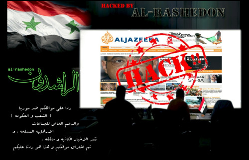 "Pro-Assad activists deface Al Jazeera site in high-profile protest Al-Jazeera has become the most recent high-profile hacking victim, after a group of pro-Assad Syrian hackers breached the site's security on Tuesday. The hacker collective, known only as ""al-Rashedon"", defaced the site's front page in response to the organization's ""positions against the Syrian people and government."" Al-Jazeera was one of the first organizations to begin covering the events of the Syrian uprising, which have become increasingly sectarian in nature, and is based in the majority-Sunni nation of Qatar. (Photo via Mattthew Keys) source"