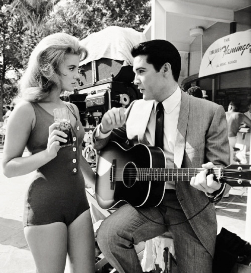 Ann-Margret and Elvis Presley on the set of their film, Viva Las Vegas (1964)
