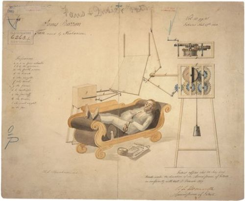 Ventilador ideado y patentado por James Barron en 1837. Fuente: US National Archives (vía El arte (perdido) de las patentes » Storyboard » Blogs EL PAÍS)