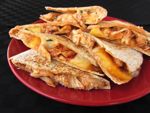 gastrogirl:  bbq chicken quesadillas with peaches and brie.