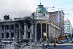 "The destruction of the 1906 San Francisco Earthquake merged with the current state of the same locations, very cool! ""Shawn Clover selected historical photographs of the earthquake from 1906 and took pictures of the same locations at the present time. He blended parts of the old, historical photographs with the new images of the same spot."""