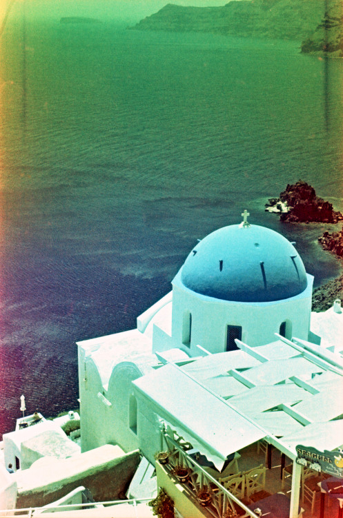 Blue Dome Church, Santorini Shot with a Nikon FM2 and Revolog 600nm