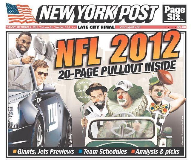 Mark Sanchez is a sad clown in today's New York Post.