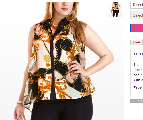 NICE SLEEVELESS BLOUSE W/ A VINTAGE CHAIN PRINT
