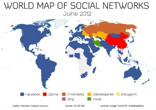 Map of the worlds different social networks, interesting!