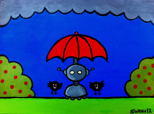 """Stormy Weather"" acrylic on 9x12 canvas. 2012."