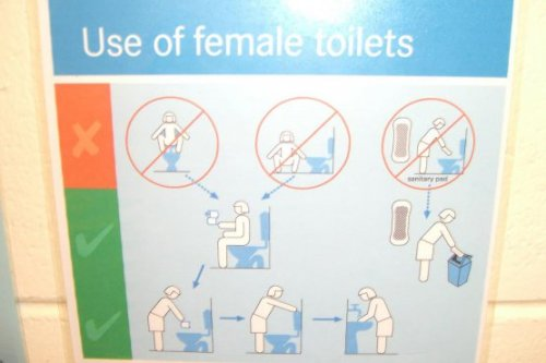 Bathroom instructions in Australia Wait, so you're not supposed to stand on the seat an squat? That would explain some things.