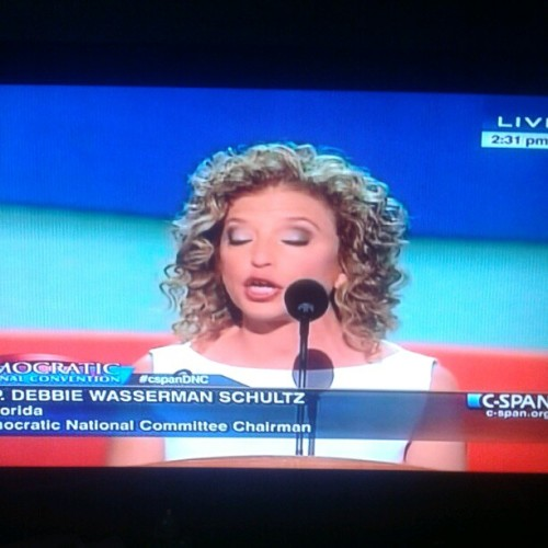 DNC Chairwoman @dwstweets Debbie Wasserman Schultz now up at the #dnc2012 podium. #dws #p2 #debbiewassermanschultz (Taken with Instagram)