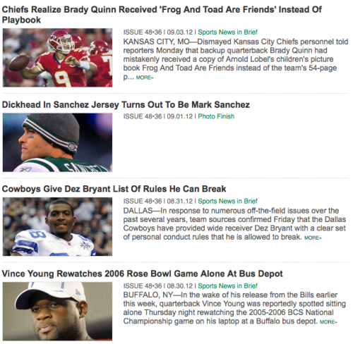 The Onion's football coverage is the next best thing to the season actually starting.