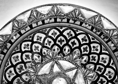Moroccan enamel bowl. The details are likely metal and bone inlay.