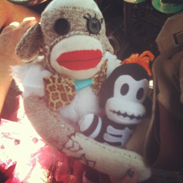 Marcel has a new bby monkey :3 (Taken with Instagram)