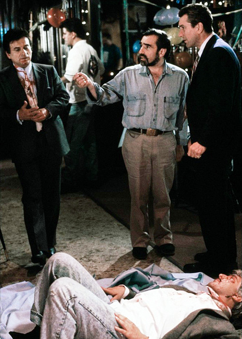 Martin Scorsese, Joe Pesci, Robert De Niro and Frank Vincent on the set of Goodfellas.