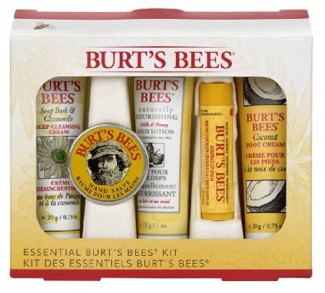 Essential Burt's Bees Kit - Buy it here - $10 This kit contains mini-sizes of the following products: Naturally Nourishing Milk & Honey Body Lotion 1 oz, Hand Salve .3oz, Soap Bark & Chamomile Deep Cleansing Crème .75oz, Coconut Foot Crème .75oz and a full-size Beeswax Lip Balm (Peppermint flavor). At Burt's Bees, we believe that true beauty comes from using the best natural ingredients to maximize your well-being, allowing your natural beauty to shine through. No parabens, SLS free and no phalates. Sour: amazon.com