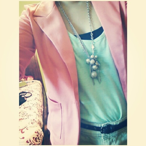 Blazer from Macy's  Tank from BCBG MaxAzria  Simply Vera Wang necklace  Shorts from Kohls