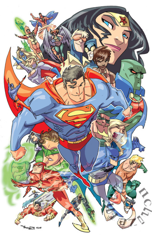 comicsforever:  DC Universe: The Justice League // artwork by Jerry Gaylord (2008)