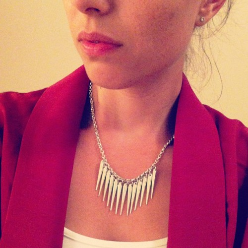 Spiked necklace and maroon blazer from #skirt #etsy #handmade  (Taken with Instagram)