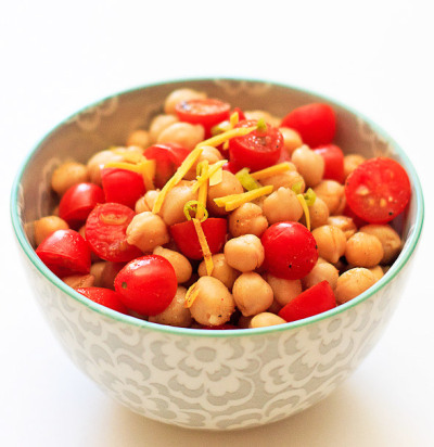 Chickpea Salad with Ginger and Tomatoes with recipe (link)