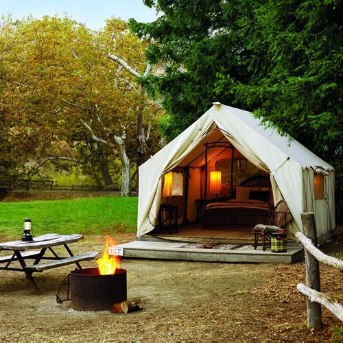 allthedarlingthings:  This is my idea of tent camping.