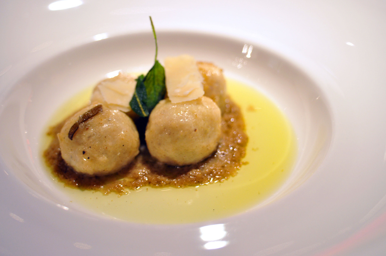 The Wedding At Mildred's Temple Kitchen Ricotta Gnudi with nutmeg tossed in sage butter with shaved Sovrano.
