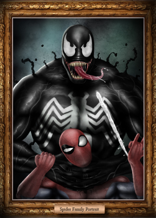 From comical to classical. Venom and Spidey Portrait, by Roger Iron.