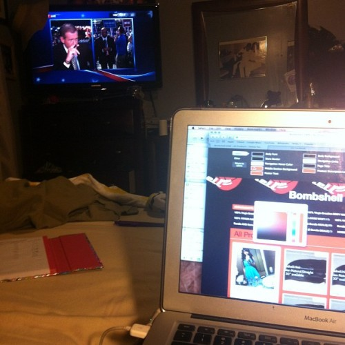 Watching the #DNC while working on the #bombshellhair website  (Taken with Instagram)