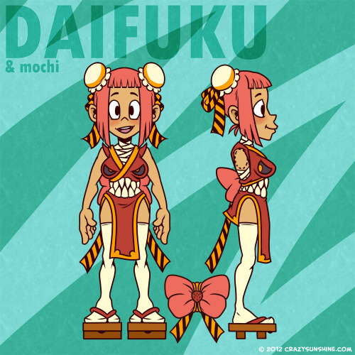 Crazy Sunshine's newest characters Daifuku and Mochi in reference sheet form!