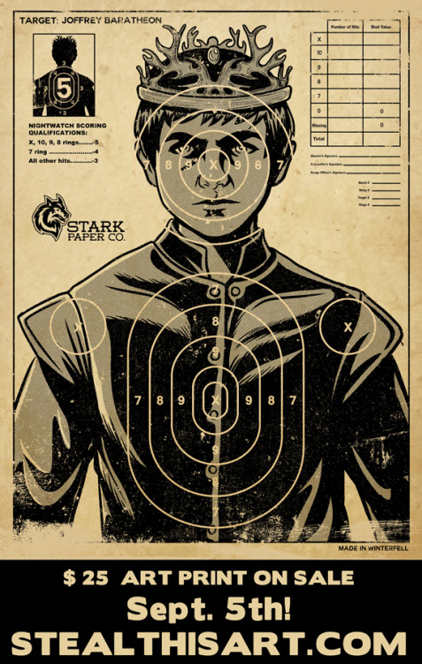 "HAIL TO ALL GAME OF THRONES FANS! ""The Perfect Target"" Giclee Print is going up on sale Sept. 5th for $25 big ones on https://www.stealthisart.com/! Be sure to tell your friends! :DFollow me: FACEBOOK 