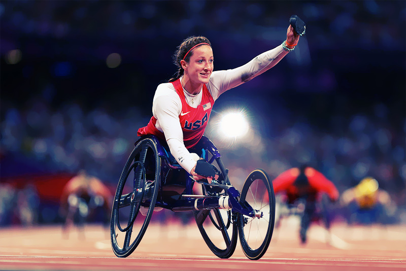 Tatyana Mcfadden of the United States wins gold in the Women's 400m - T54 Final Photo by Michael Steele