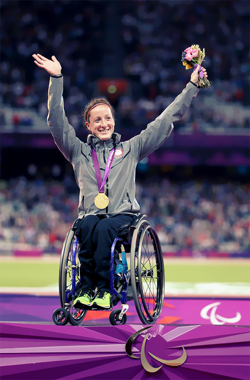 Gold medalist Tatyana Mcfadden of the United States poses on the podium during the medal ceremony for the Women's 400m - T54 Final Photo by Michael Steele