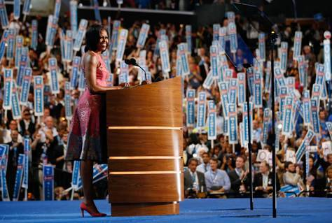 First lady hails Obama's values as Democratic speakers assail Romney (Photo: Jae C. Hong / AP) CHARLOTTE, N.C. – First lady Michelle Obama said her husband remains anchored by the same values he brought to the White House nearly four years ago, on a night devoted as much to tearing down Republican nominee Mitt Romney, as building up President Barack Obama and his record. Read the complete story.