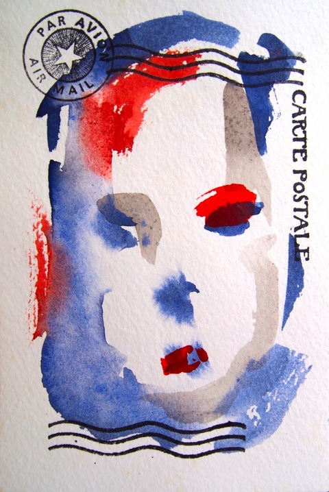 "Daniel Rossi | Carte Postal | Watercolor and rubber stamps on paperSize: 4"" x 6"" // 2012 (via Rossi Projects Blog)"