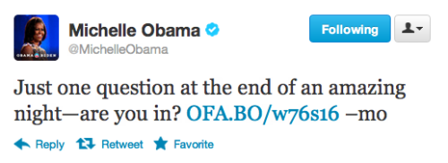 Just one question at the end of an amazing night—are you in? http://OFA.BO/w76s16 –mo