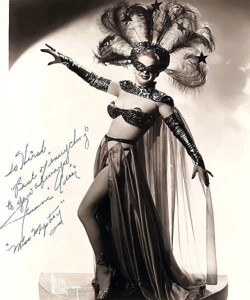 "burleskateer:     Jeanne Adair    aka. ""Miss Mystery"".. Vintage 50's-era promo photo personalized: ""To Hirsh — Best of everything to you always, — Jeanne Adair"".."