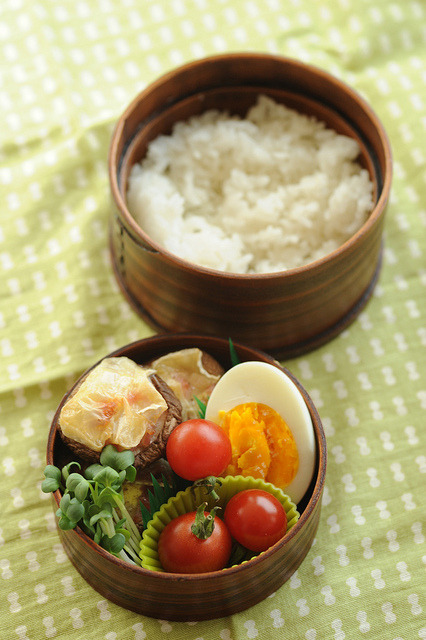 Shiitake cheese bento by shok on Flickr.