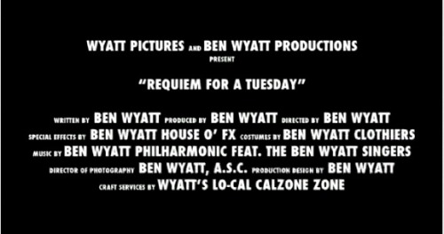 A screen grab from the Requiem For A Tuesday ~ A Ben Wyatt Film trailer (included in the Season 4 bloopers). AKA why I love this show and everyone involved in it.