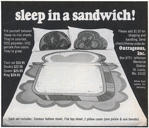 superseventies:  Sleep in a Sandwich…1970 advertisement.  I would love to find a set of these!