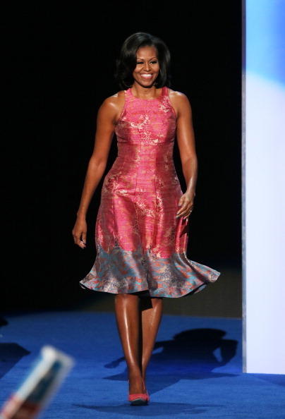 First Lady Michelle Obama at the 2012 Democratic National Convention. She's wearing a custom Tracy Reese dress and J.Crew pumps.