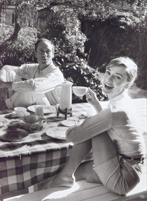 Audery Husband relaxes with husband Mel Ferrer, 1950s.