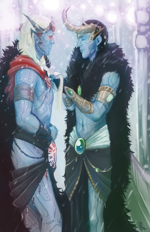 identitypollution:  Finished commission for Sabrajay! Jotun Thor and Loki are so pretty. I tried a new style of digital painting on this one. I'm counting on Rudy to write out a short one-shot of that terribly sad back-story since I can't do it any justice. If you would be interested in commissioning me to draw you something here is my information!
