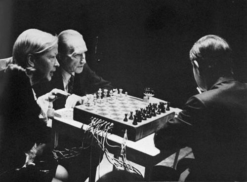 "uncertaintimes:  John Cage first met Marcel Duchamp in the 1940s. Duchamp asked Cage to write music for his part in Hans Richter's film ""Dreams that Money Can Buy"" (1946). But it took twenty more years before the two actually became close. Cage didn't want to bother Duchamp with his friendship until he realized that Duchamp's health was failing. Then he decided to actively seek his company. He knew that Duchamp was taking chess very seriously, and it was easy for Cage to use this pretext, so he simply asked him to teach him the game. And for the last three years of Duchamp's life the two men and Teeny Duchamp, the bachelor's bride, met at least once a week and played chess. (…) Actually, Cage hadn't lost every single match with Duchamp. There was one that he definitely won, after a fashion. It happened in Toronto, in 1968. Cage had invited Duchamp and Teeny to be with him on the stage. All they had to do was play chess as usual, but the chessboard was wired and each move activated or cut off the sound coming live from several musicians (David Tudor was one of them). They played until the room emptied. Without a word said, Cage had managed to turn the chess game (Duchamp's ostensive refusal to work) into a working performance. And the performance was a musical piece. In pataphysical terms, Cage had provided an imaginary solution to a nonexistent problem: whether life was superior to art. Playing chess that night extended life into art – or vice versa. All it took was plugging in their brains to a set of instruments, converting nerve signals into sounds. Eyes became ears, moves music. Reunion was the name of the piece. It happened to be their endgame. ~ Sylvère Lotringer, ""Becoming Duchamp""  The Barbican's current Bride and the Bachelors exhibition reminded me of this post."