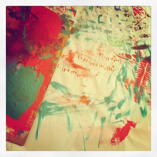Textile stamping aftermath #recreate #DIY #crafts (Taken with Instagram)