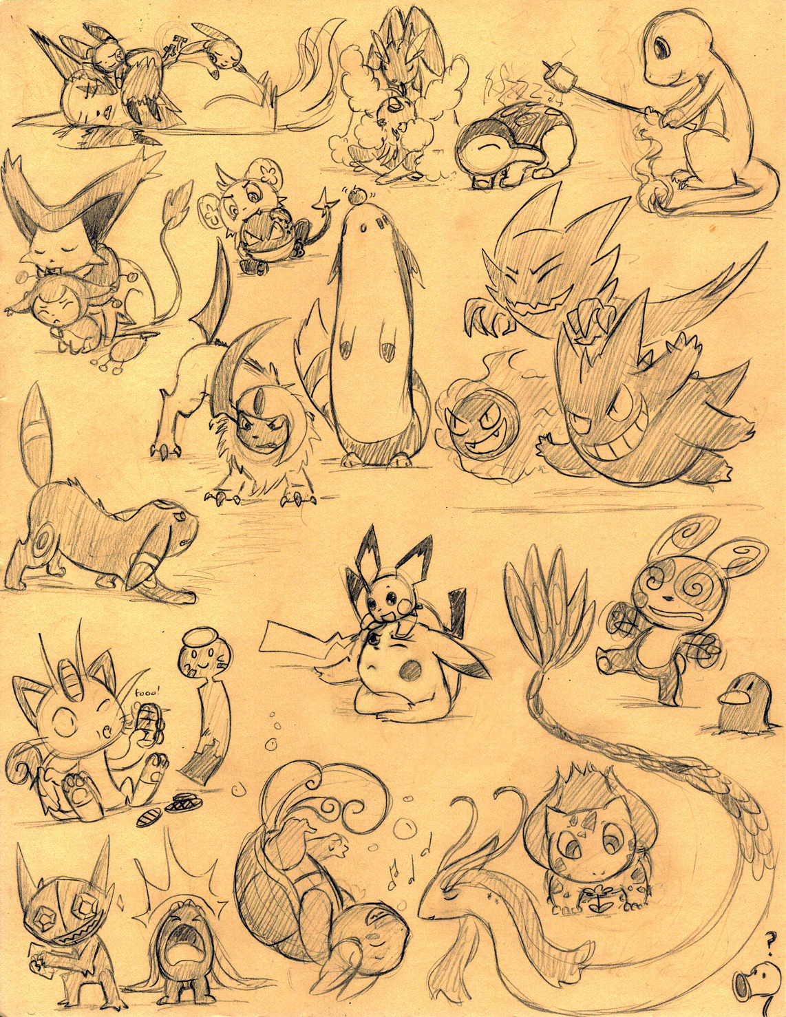 pokemonfourever:  PKMN doodles by ~pettyartist